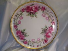 """Gorgeous Antique T&V Limoges France Hand Painted Roses Porcelain Punch Bowl With Matching Plinth/Pedestal/Base And Matching 18"""" Tray ~ Victo..."""