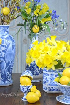 Citrus and Flowers – Monday Morning Blooms Blue And White Vase, White Vases, Blue Yellow, Centerpieces, Table Decorations, Rose Cottage, Ginger Jars, White Decor, My Favorite Color
