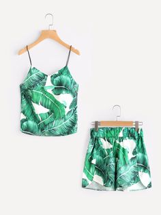 Summer Green Palm Leaf Print Sleeveless Cami Top With Dolphin Shorts New 2017 | eBay