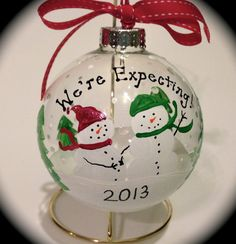 We're Expecting Christmas Snowman Snowmen by TheArtsyBohemian