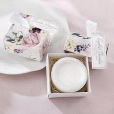 This English garden floral soap favor is a fresh take on wedding and bridal shower favors.