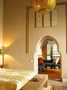 Ryad Dyor boutique hotel in Marrakech, Morocco Oriental Bedroom, Moroccan Bedroom, Moroccan Interiors, Warm Bedroom, Master Bedroom, Moroccan Design, Moroccan Decor, Moroccan Style, Moroccan Colors