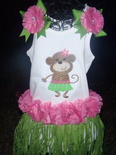 85e97b105 Personalized Girl Monkey Luau Tee or Tank Custom made by Ashlyn Grace Design