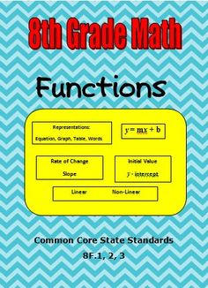 CCSS 8.F.1.2.3 - This resource will save you time as you use the activities to introduce functions. Guided notes and examples as well as independent practice with detailed answer keys are included.
