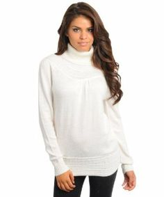 c7a490acb8 2LUV Women s Long Sleeve Turtle Neck Tunic Sweater only White Turtleneck
