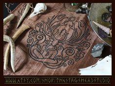Cernunnos Altar Cloth by Imogen Smid of the Stag's Head Studio - Celtic Pagan Horned God, Pagan Altar, Wicca, Wiccan, Herne, Robin of Sherwood, Oak Tree, Oak Leaf, Ogham, Etsy Store