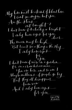 """Lyrics to """"I Only Have Eyes for You"""" by The Flamingos Calligraphy by paperfinger.com"""