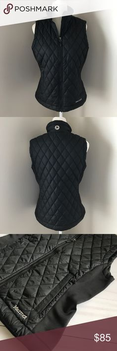"""Marmot Women's Vest Diamond Quilted Black Size M Marmot women's black diamonds quilted vest size medium.  The vest has two side zip pockets and one inner pocket.  The side are a stretch material so you get a nice slim fit.  The vest measures armpit to armpit 19"""" and is 23.5"""" long. Marmot Jackets & Coats Vests"""