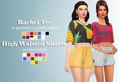 Sims 4 CC - Rachel Tee and shorts — hypsteria-posts: Hi everyone! Sims 3, Sims Four, Sims 4 Mm Cc, Sims 4 Cas, Maxis, Top Maxi, Los Sims 4 Mods, Pelo Sims, High Wasted Shorts