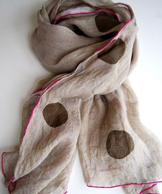 Polka dot and contrast edge scarf