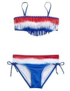 Striped Fringe Bikini Swimsuit