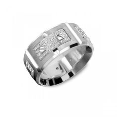 Men's Carlex wedding band with 18k white gold and diamonds.