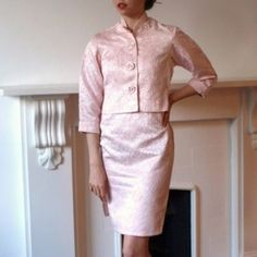 1950s pale pink brocade cheongsam cocktail dress with jacket    £55