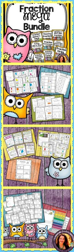 This Fraction Mega Bundle is a great tool for teaching Fractions!  Tons of engaging activities, learning aids, recipes, assessments and MORE!  This fraction BUNDLE covers all of the 3rd grade fraction standards.  Perfect for centers, small group, review or extra practice!