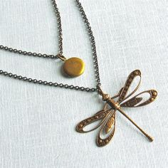 Layered Dragonfly Locket Necklace  Double Strand by mcstoneworks