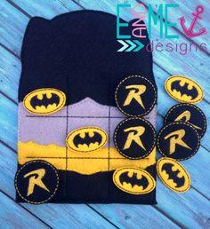 Bat Hero Tic Tac Toe Embroidery Design - 4x4 or Larger - E&Me Designs
