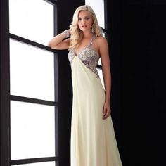 Gorgeous Jeweled prom dress Gorgeous yellow jeweled prom dress. Size 6. Worn once to a military ball!! Couture Dresses Prom
