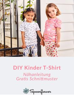 Kinder T-Shirt Schnittmuster & Anleitung T Shirt Sewing Pattern, Bag Patterns To Sew, Sewing Patterns, Shirt Patterns, Pants Pattern, Dress Patterns, Sewing Tutorials, Sewing Projects, Poncho Crochet