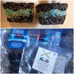 Thin blue line Rice Krispie treats with whole truth project quotes :)