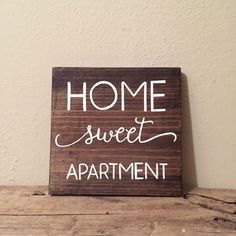 Home Sweet Apartment Wood Sign | Apartment Decor | Reclaimed Wood | College Student Gift  PRODUCT DESCRIPTION: Home Sweet Apartment wood sign. This