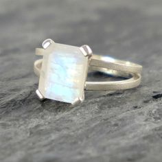 Moonstone Engagement Ring June Birthstone  Rainbow by EfratJewelry