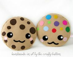 Kawaii Cookie Cushions! Adorable chocolate chip cookie and M cookie by TheCraftyButtonUK on Etsy, £10.00