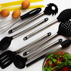 Utensil Cooking Set for Kitchen - Set Of 8 Silicone and Stainless Steel Utensils…