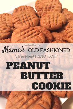 Simple, Keto, LCHF peanut butter cookies like mama used to make! With only 3 ingredients and 2 carbs each, these are DELICIOUS! rachaeldee.com