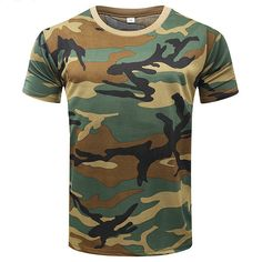 Mens Outdoor Quick-drying Breathable Mesh T-shirt Camouflage Military Training Tops
