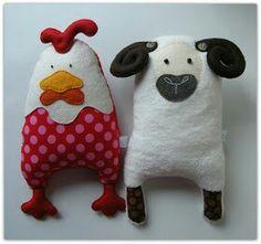 Galinha e ovelha em feltro