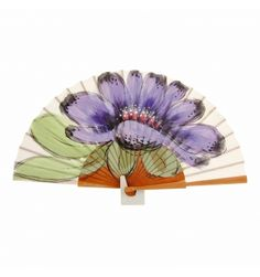 Abanico grande madera y tela flor morada Hand Held Fan, Hand Fans, Malva, Make Me Smile, Diy And Crafts, Exotic, Eagle, Hand Painted, Fantasy