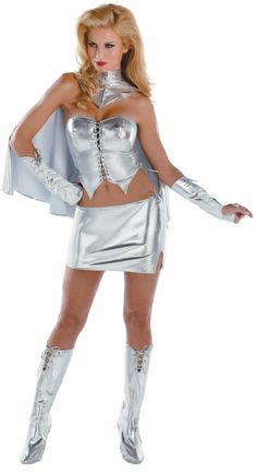 Emma Frost Sassy Deluxe Adult Costume,$46.99  I like the fit and stuff but I don't like the metallic silver