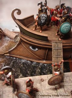 Diorama of Greek Hoplites disembarking from Trireme Sparta Warrior, Greek Warrior, Lead Adventure, Roman Warriors, Early Modern Period, Origami Models, Classical Antiquity, Late Middle Ages, Greek History