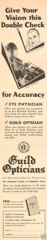1930s vintage Guild Optician EYE DOCTOR Physician Optical Oculist EYEGLASSES Ad