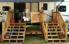 Portable rv deck with steps and railings rv decking and for Rv deck plans