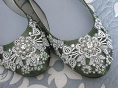 Spring Garden Bridal Ballet Flats Wedding Shoes - Any Size - Pick your own shoe color and crystal color. $185.00, via Etsy.  For the ceremony????