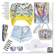 """Denim Shorts"" by ilona-828 ❤ liked on Polyvore featuring Dolce&Gabbana, Roberto Cavalli, StreetStyle, Summer, jeanshorts, denimshorts and cutoffs"