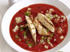 Gazpacho With Lime Chicken from #FNMag #myplate #protein #veggies