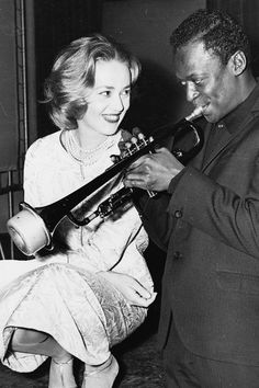 Jeanne Moreau and Miles Davis behind the scenes of ELEVATOR TO THE GALLOWS - Women in Film