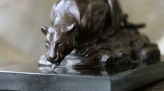 by Jonathan Parkinson titled: 'Drinking Leopard (Small Bronze Alert sculpture)'. African Elephant, African Animals, Abstract Sculpture, Bronze Sculpture, Big Cats, Cool Cats, Lion Hunting, Sleeping Lion, Cat Drinking