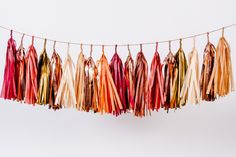 Fall Leaves Tassel Garland (browns, reds, copper) by StudioMucci on Etsy