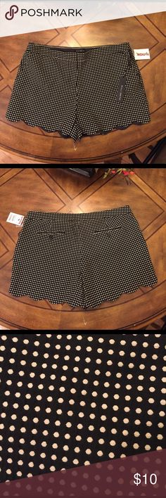 Willi Smith shorts black and white polka dot 14 Willi Smith black and white polka dot shorts size 14 NWT. Material is 68% polyester and 32% cotton. Scalloped hem super cute shorts Willi Smith Shorts
