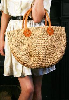 Vintage Medium Straw / Raffia Shoulder Tote Bag