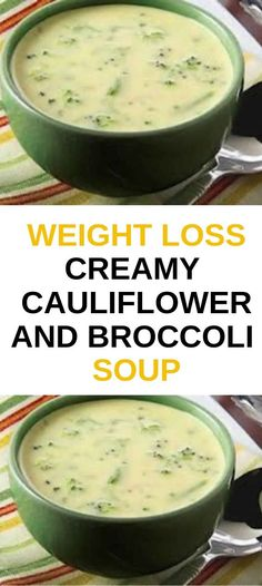 Weight Loss Creamy Cauliflower and Broccoli Soup recipes healthy low calories Broccoli Soup Recipes, Cauliflower Soup Recipes, Chicken Soup Recipes, Healthy Soup Recipes, Detox Recipes, Brocolli Cauliflower Soup, Vegan Cauliflower, Healthy Brocolli Soup, Brocoli Soup