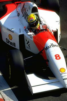 Ayrton Senna of Brazil in action in his McLaren Honda during the Italian Grand Prix at the Monza circuit in Italy Senna retired from the race after...