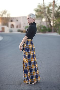 vintage plaid tartan yellow navy full high waisted maxi skirt