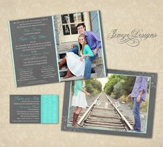 Wedding Invitation Template - Photographers and Photoshop users only - Item WA064. $10.00, via Etsy.