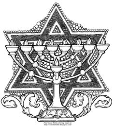 Color The Bible: Jewish Symbols - Jewish coloring pages like this one are not easy to find on the internet. I redrew it for my blog last year.