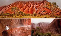 Uluru visitors witness rare sight at Australian ancient natural wonder
