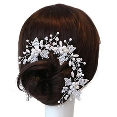 893a6848a09c   24.99  Handmade Bridal Wedding Headpieces Hair Pins Flower With  Pearl Rhinestone Crystal For Casual Party Women Flower Girl